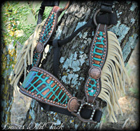Indian Concho Cheek Halter With Fringe