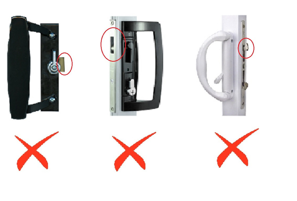 Sliding doors with internal locks within the aluminium/timber frame will not work with the PatioLock model. Hooks must rotate from the door handle body to be compatible.