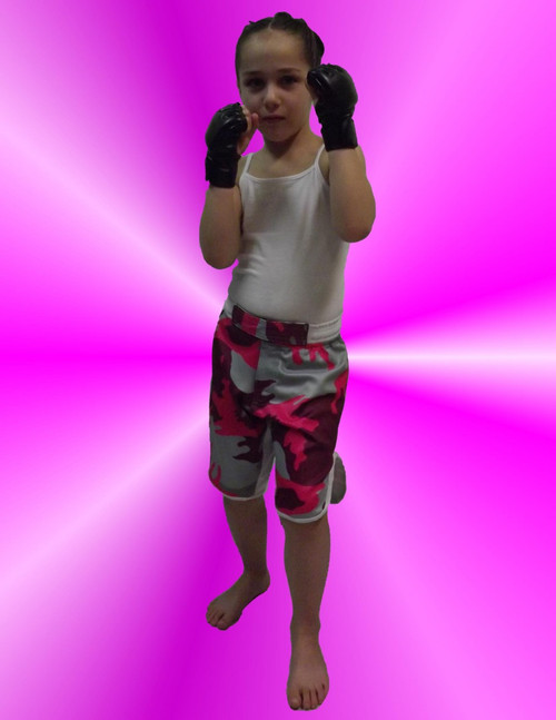 Youth Pink Camo MMA Shorts