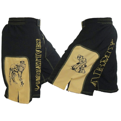 Army Combatives Panel Fight Shorts Black & Gold
