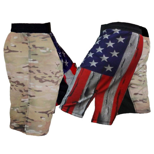 Distressed USA Flag and Multicam MMA Shorts