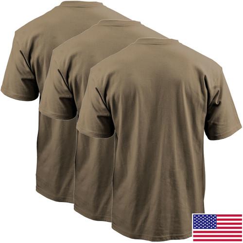 Military Tan OCP T-Shirt, 100 Percent Cotton Poly 3-Pack