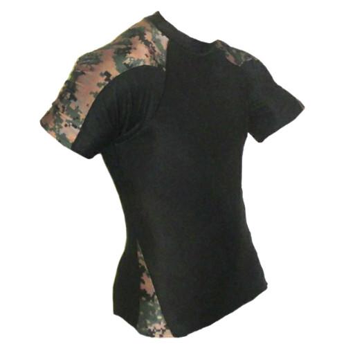 Black and Marpat Short Sleeve Rash Guard