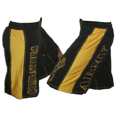 Black with Gold Stripe Army Combatives Fight Shorts