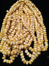 6/0 White Picasso Fire Polish Cut Seed Bead Hank