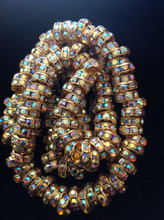 8mm Gold Plated Crystal AB Czech Crystal Rhinestone Rondelle ( 1 Gross )