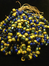 32/0 Opaque Stripe Picasso with Cobolt / White Heart Seed Beads ( .250 )