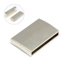 Alloy Magnetic Clasps, Rectangle, Silver, 40x24x7mm, Hole: 3X36mm