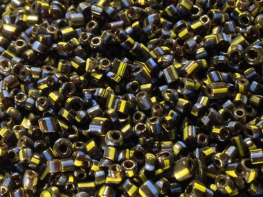 Antique Italian Hudson Bay seed beads. Size 12/0. black two cut with yellow and blue stripes. A rare bead. Made in the mid 1800's.