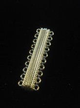 """ Cosmopolitan "" Platinum Oval 10 Strands Alloy Magnetic Clasp 20-Hole, 47x14x7mm, Hole: 2mm"