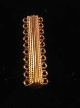 """ Cosmopolitan "" Copper Oval 10 Strands Alloy Magnetic Clasp 20-Hole, 47x14x7mm, Hole: 2mm"