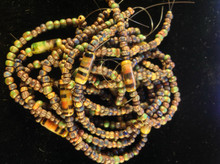 """6/o Striped Picasso Aged Seed with Heishi ( 6"""" with loop ) 6 Strands"""