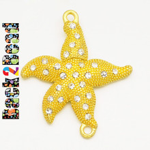""" Polaris "" Gold Alloy Rhinestones Magnetic Clasps, Starfish, 39x33x6mm, Hole: 2mm"
