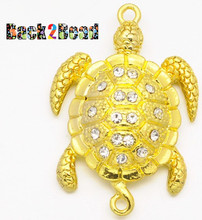 """ Crush "" Gold Alloy Rhinestones Magnetic Clasps, Sea Turtle, Golden, 37x25x8mm, Hole: 2mm"