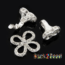 """"""" Ivy """" Alloy Rhinestone Fold-Over Magnetic Clasps, Grade A, Flower, Silver, 44x25mm, Pin: 1mm"""