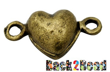 Alloy Magnetic Clasps, Heart, Antique Bronze Color Size: about 10mm wide, 18mm long, 7mm thick, hole: 2mm.