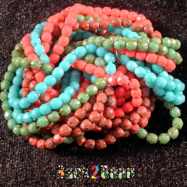 150 Pieces each of Green Turquoise, Coral, Green Turquoise Picasso, and Coral Picasso !