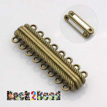 Oval 8 Strands Alloy Magnetic Clasps, 16-Hole, Nickel Free, Antique Bronze Size: about 14mm wide, 44mm long, 7mm thick, hole: 2mm.