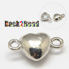 """ Broken Heart "" Silver Magnetic Clasps, Oval, Platinum Size: about 10mm wide, 17mm long, hole: 1mm."
