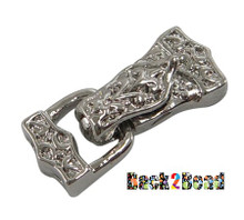 """ Crestfallen "" Platinum Alloy Fold Over Magnetic Clasps, Triangle, about 10.5mm wide, 24mm long, hole: 1mm"