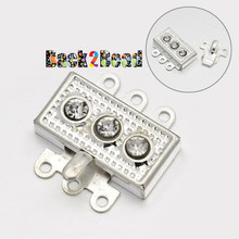 Silver, Brass Rhinestone Box Clasps, 6-Hole, 18x18x5mm, Hole: 1mm