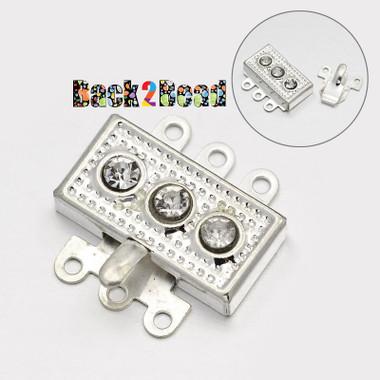 Silver, Brass Rhinestone Box Clasps, 6-Hole, 18x18x5mm, Hole: 1mm