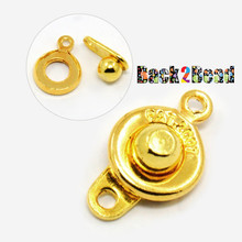""" Dimples "" Gold Brass Snap Clasps, about 9mm wide, 16mm long, hole: 1.2mm"