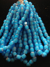 2/0 Fire Polish Cut Aqua / White Heart Seed Bead Hank