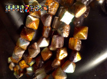 8MM Crystal Magic Copper ( 95300 ) Etch BeadStudz - 2-Hole Czech Glass Pyramids ( 24 Pieces per Strand x 6 Strands )