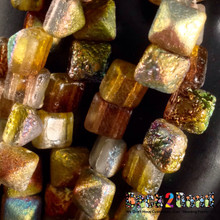 8MM Crystal Magic Goblin ( 95400 ) Etch BeadStudz - 2-Hole Czech Glass Pyramids ( 24 Pieces per Strand x 6 Strands  )