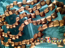 Old Copper  ( 01750 ) Etch BeadStudz - 2-Hole Czech Glass Pyramids ( 24 Pieces per Strand x 6 Strands )