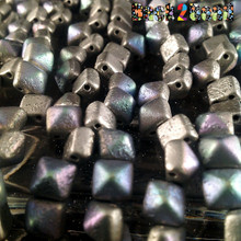 8MM Silva Surfer AB  ( 01700 - 28701 ) Etch BeadStudz - 2-Hole Czech Glass Pyramids ( 24 Pieces per Strand x 6 Strands )