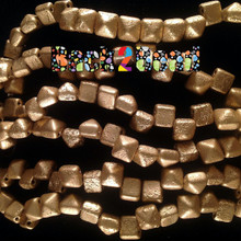 8MM Matt OrO Gold ( 01710 ) Etch BeadStudz - 2-Hole Czech Glass Pyramids ( 24 Pieces per Strand x 6 Strands )