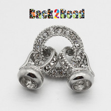 """ Embrace ""  Platinum,  Alloy Rhinestone Clasp,  36x16mm, Hole: 6mm"