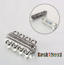 Platinum 4 Strand Alloy Oval Magnetic Clasp