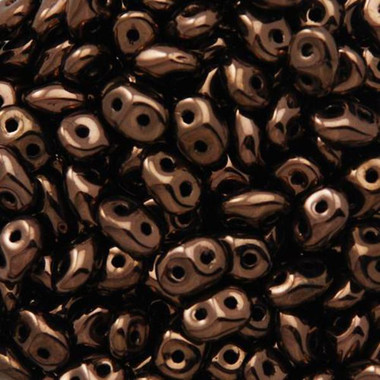Dark Bronze, SuperDuo 2.5x5mm, Czech Glass Beads, Matubo, 2 hole seed beads