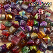 8MM Ctystal Magic Multi Etch BeadStudz - 2-Hole Czech Glass Pyramids ( 24 Pieces per Strand )