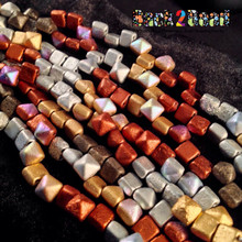 8MM Metallic Multi Etch BeadStudz - 2-Hole Czech Glass Pyramids ( 6 strands, 24 Pieces per Strand = 144 pieces )