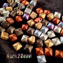8MM Metallic Multi Etch BeadStudz - 2-Hole Czech Glass Pyramids ( 24 Pieces per Strand )