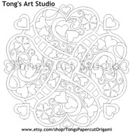 Instant Download-Coloring Page-Mandala Style-Heart pattern-001