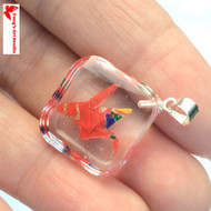 Red with Gold Origami Crane Resin Square Charm - O10005