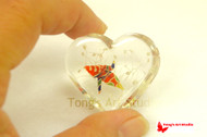 Origami Crane with Gypsophila Resin Heart Shaped Table Ornament