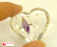 Origami Crane with Gypsophila Resin Heart Shaped paperweight