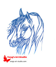 Horse paper cutting, Tong's art studio, Tong's paper cutting, blue horse art, horse