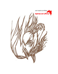 Horse paper cutting, Tong's art studio, Tong's paper cutting, brown horse art, horse