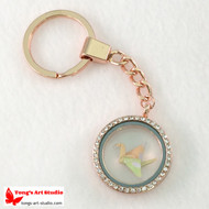 Rose Gold Tone Littler Origami Lucky Crane Locket Keychain, Origami Crane Locket Key Chain