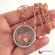 Rose Gold Tone Colorful Origami Lucky Crane Necklace Locket, Origami Crane Locket Necklace
