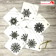8 Printable Snowflake Gift Tags-Black and White Square Tags-01