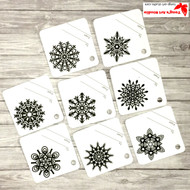 8 Printable Snowflake Gift Tags-Black and White Square Tags-02