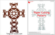 butterfly cross paper cutting pattern, cross pattern